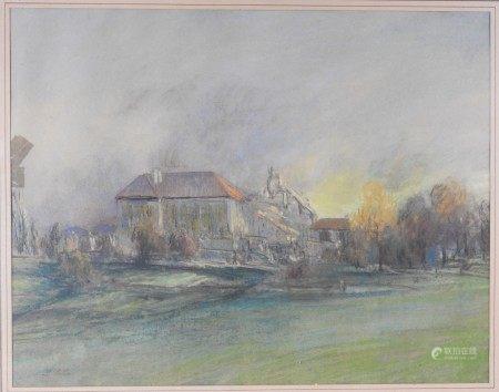 Collin (début XX°)  - Paysage Pastel sur papier 35 x 44,5 cm  - Restauration  - [...]