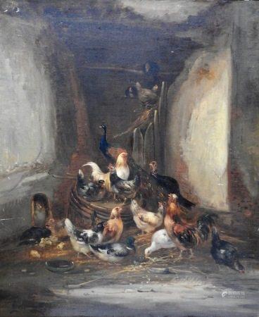 Claude Guilleminet (Paris 1821 - 1885)  - Poulailler Sur sa toile d'origine 66 x 54,5 [...]