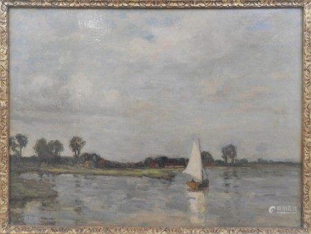G. Grey (XX° siècle)  - Paysage au voilier Toile 46 x 61 cm  - Rentoilé, [...]