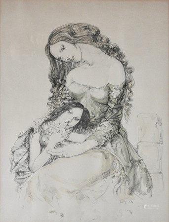 Léonard Tsuguharu Foujita (1886-1968)  - Mère et fille, 1964 Lithographie sur [...]