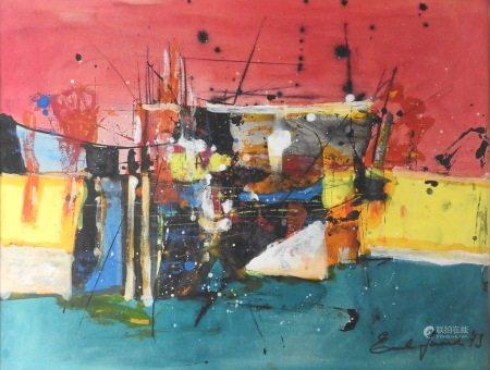 Emil Gérard (né en 1932)  - Composition, 1973 Gouache, encre et aquarelle sur [...]