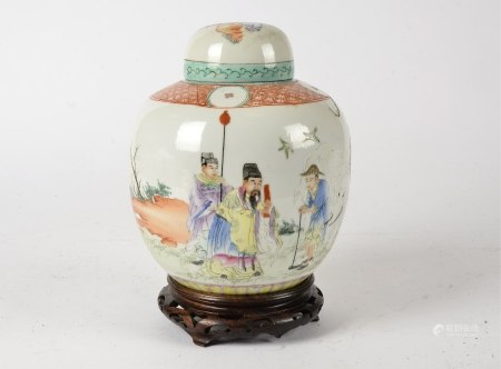 A Chinese ginger jar and cover, likely late Qing dynasty, with over glaze enamel decoration, the