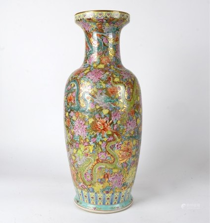 A Chinese vase of substantial proportions, decorated in gilt and polychrome overglaze enamels, the