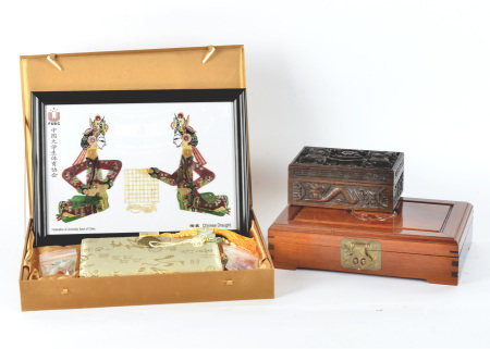 A quantity of Chinese collectables, to include an interesting Chinese box with Royal Artillery motto