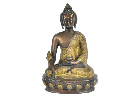 A metalwork statue of Buddha, seated in the lotus position, height 30cm
