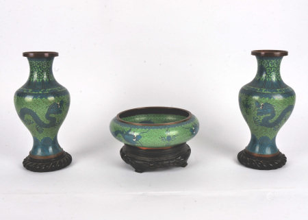 A pair of Chinese Cloisonné vases, together with a bowl, all with a pattern formed with ruyi sceptre