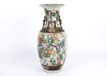 An early 20th Century Chinese vase, with crackleware body, overglaze polychrome enamel decoration of