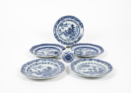 Two near pairs of octagonal blue and white Chinese export plates, together with another similar,