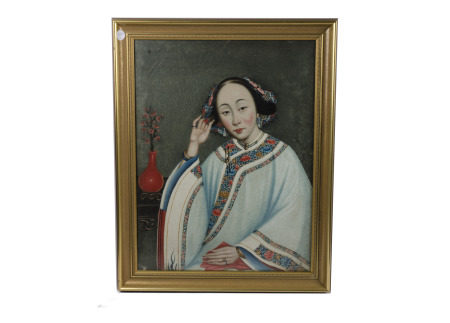 Two Chinese portraits attributed to Lam Qua (1801-1860), one of a seated Lady in traditional Chinese