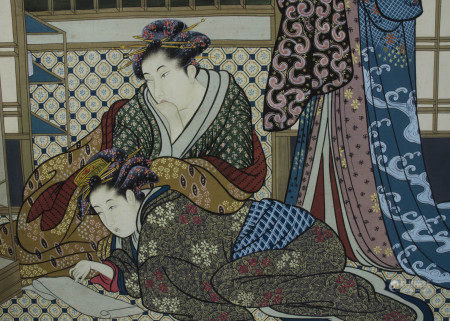 Manner of 18th Century Japanese school gouache on linen, a study of three women in a typical
