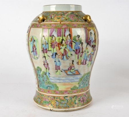 A Chinese vase with overglaze enamel decoration, in the Canton taste, the baluster body with an