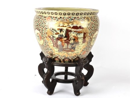 A 20th Century Chinese porcelain fish bowl, of satsuma form, the sides of the bowl decorated upon