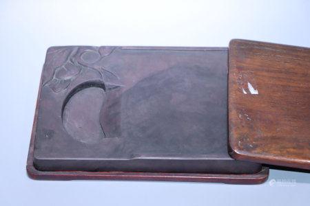 清.紅木盒端石硯