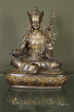 Tibet / Chine  - Grand Padmasambhava En bronze représenté assis en sukhasana sur un [...]