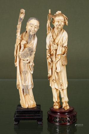 Chine  - Pêcheur et Dignitaire En ivoire sculpté, gravé et patiné, orné d'un [...]