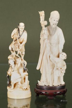 Chine et Japon  - 2 groupes en ivoire sculpté Figurant un lettré promenant sa fille [...]