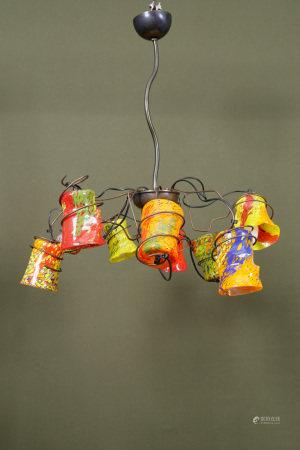 Barovier & Toso  - 1 lustre + 2 appliques, modèle Goto En verre polychrome et [...]
