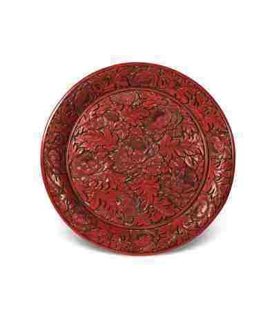 明 剔红富贵牡丹赏盘