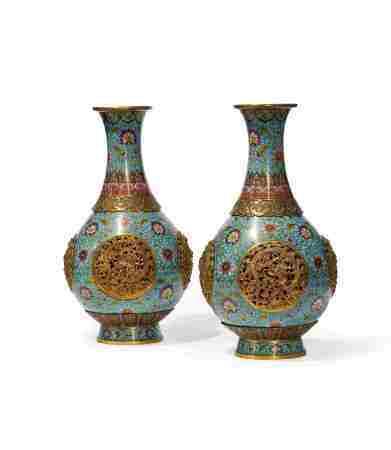 清中期 铜胎掐丝珐琅转心瓶(一对)
