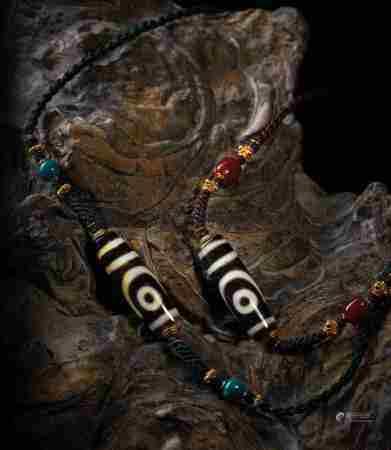 千年至纯如意两眼天珠项链对珠