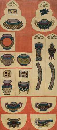 清 缂丝各式博古纹活计织成料一件
