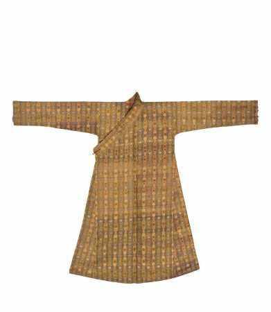清 黄色地宋式锦藏袍