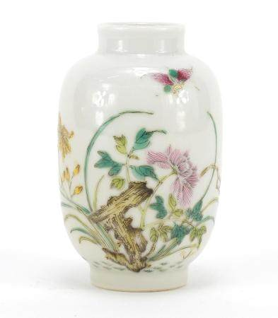 Chinese porcelain vase, finely hand painted with famille rose palette with butterfly amongst