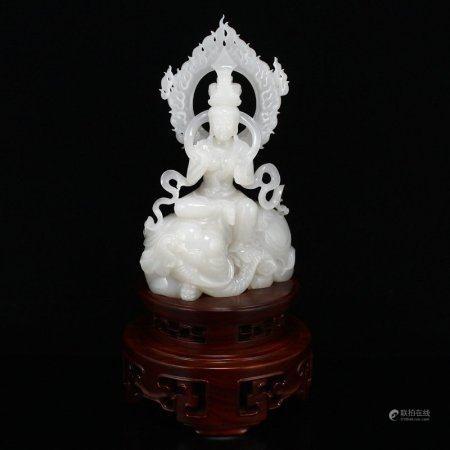 Superb Hetian Jade Samantabhadra Bodhisattva Statue