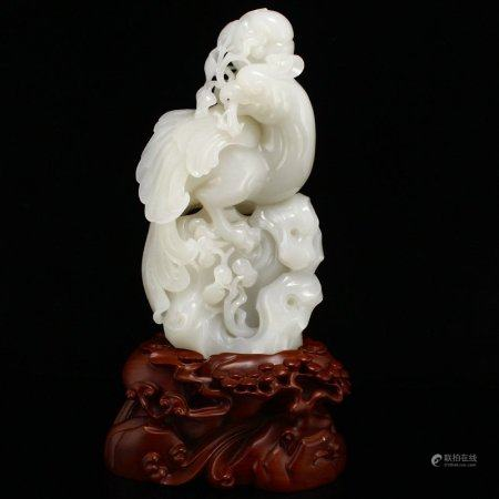 Superb Chinese Natural Hetian Jade Ruyi Parrot Statue