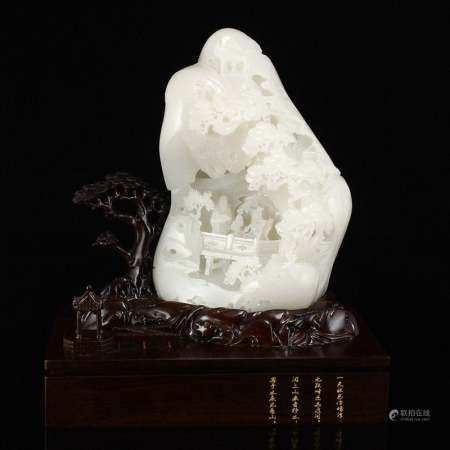 Superb White Hetian Jade Figures & Pine Tree Statue