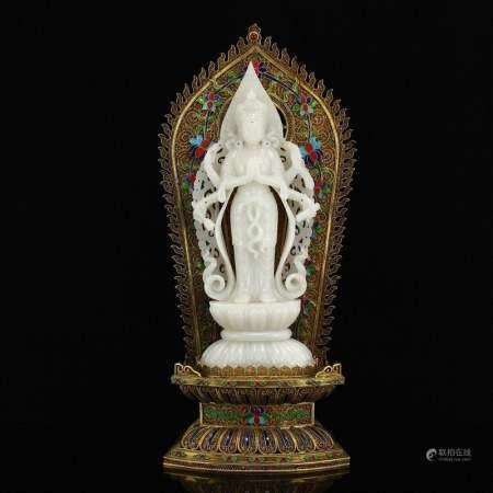 Superb White Hetian Jade Six Arms Kwan-yin Statue