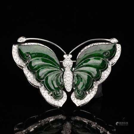 18K White Gold Inlay Emerald Jadeite Butterfly Pendant