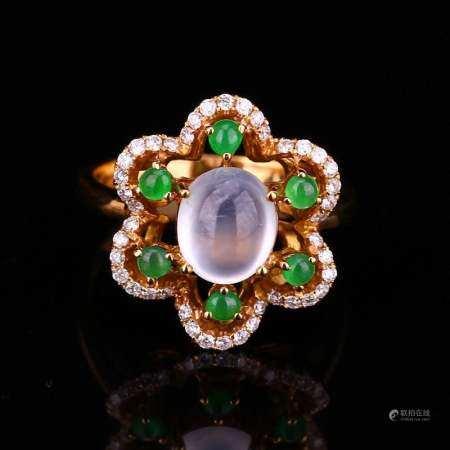 18K Gold Inlay Cabochon Icy Jadeite Diamonds Ring