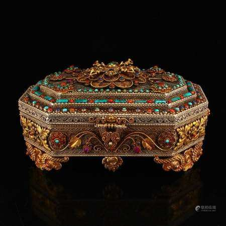 Tibetan Silver Wire Inlay Natural Gems Jewelry Box