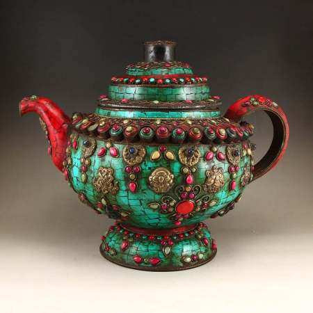 Tibetan Bronze Inlay Turquoise & Gems Big Teapot