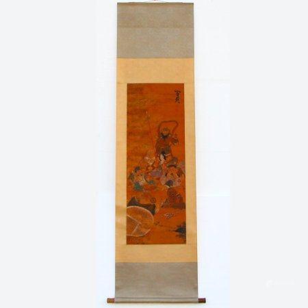 Chinese Watercolour On Silk Eight Taoism Deity Painting
