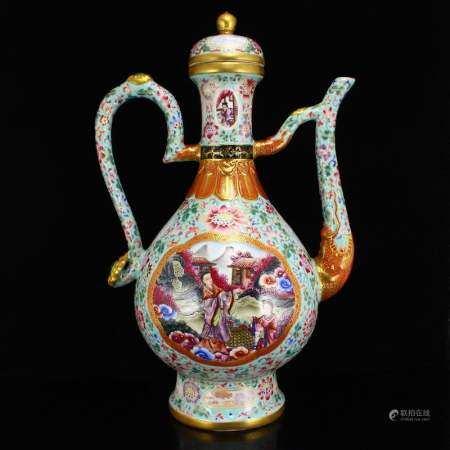 Gilt Gold Blue Ground Famille Rose Porcelain Wine Pot