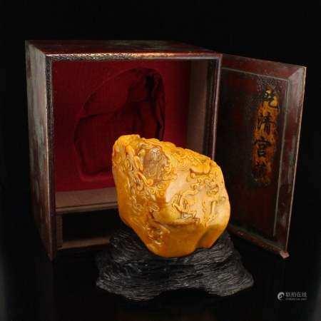 3Kg Qing Dy Tian Huang Stone Dragon Phoenix Statue