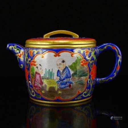 Chinese Qing Dy Gilt Gold Enamel Zisha Clay Teapot