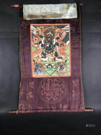 Tibetan Thangka, Depicting Mahakala