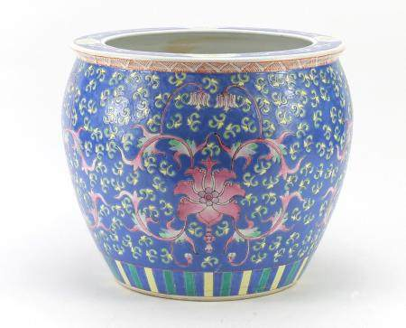 Chinese porcelain fish bowl planter hand painted with flowers, 331cm high : For Further Condition