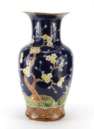 Large Chinese porcelain vase hand painted with a blossoming tree, 52.5cm high : For Further