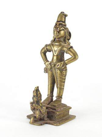 Tibetan bronzed figure of a praying to a God, 16cm high : For Further Condition Reports Please Visit