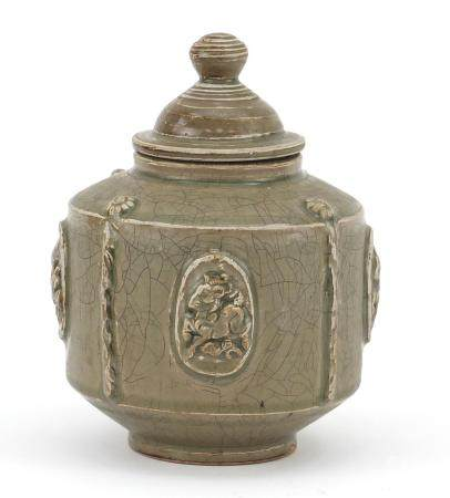Korean celadon glazed pot and cover, 20cm high : For Further Condition Reports Please Visit Our