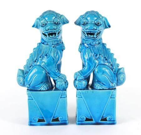 Pair of Chinese turquoise glazed foo dogs, each 25cm high : For Further Condition Reports Please