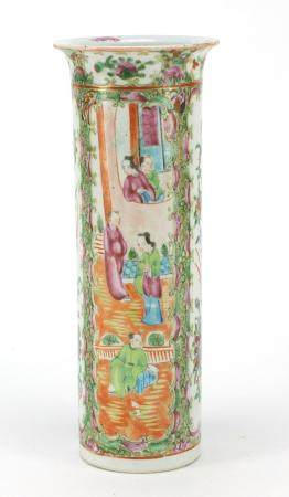 Chinese porcelain cylindrical vase, hand painted with birds of paradise amongst flowers and figures,