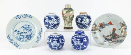 Chinese porcelain including four ginger jars hand painted with prunus flowers, shallow dish and a