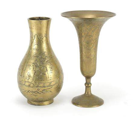 Chinese bronze vase and an Indian example, the largest 21.5cm high : For Further Condition Reports