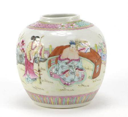 Chinese porcelain ginger jar hand painted with figures, 12cm high : For Further Condition Reports