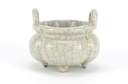 Chinese Ge Ware four footed censer with twin handles, six figure Qianlong character marks to the